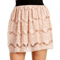 Blush Lace Skater Skirt