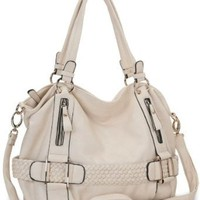 Cream Weave Pattern Belt Accent Double Handle Top Closure Soft Hobo Bowler Satchel Office Tote Shoulder Bag Handbag Purse: Clothing