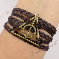 Deathly Hallows Bracelet, Harry Potter Bracelet--Bronze, Wax Cords and Imitation Leather Braid Bracelet--Best Chosen Gift