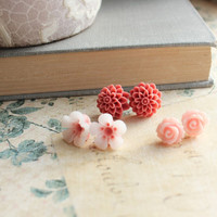 Flower Post Earrings, Rose Studs, Pink, Coral, Brick, Peach, Floral Earrings, Resin Jewelry, Spring Garden,Three Pairs