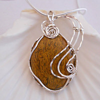 Wire Wrapped Cabochon, Mariem Jasper Necklace, Wire Jewelry, Handmade