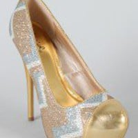 Neutral-264 Glitter Zig Zag Almond Toe Pump