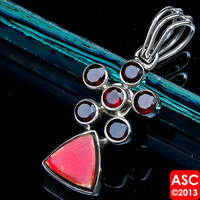 RARE AMMOLITE, GARNET 925 STERLING SILVER PENDANT 1 1/2&quot; JEWELRY