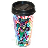 Grateful Dead Dancing Bear Tie Dye Travel Mug  NEW