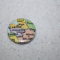 "Eastern Europe Map 1"" Pinback button - Lithuania Latvia Belarus Estonia Russia"