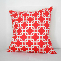 Coral Pillow Cover Geometric Print 18 X 18 inches