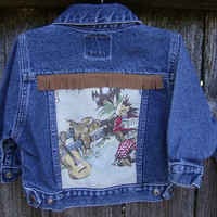 Baby Blue Jean Denim Jacket Vintage Western by thefishermanswife