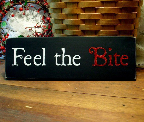 Feel the Bite Painted Vampire Wood Sign by CountryWorkshop on Etsy