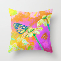 Neon Butterfly Throw Pillow by RokinRonda