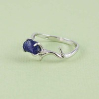 Sterling Silver Rough Blue Sapphire Ring - gemstone ring, tooriginal