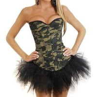 Camouflage Camo Print Boned Corset Bustier fancy dress Costume & Mini Tutu
