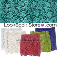 Lookbookstore Women Coloured Crochet Embroidery Floral Lace Bodycon Mini Short Skirt Lining @lookbookstore @lookbookstore