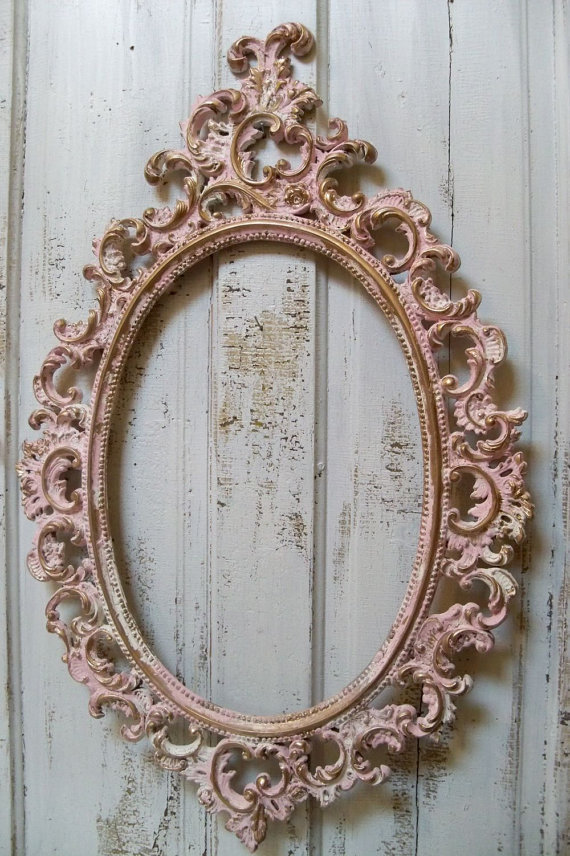 Pink ornate large frame accented white from anitasperodesign on - Oval wall decor ...