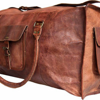Leather duffel bag  Leather Weekend Bag Cabin Bag Vintage style retro look  gym bags overnight bag cabin HandBagTrip