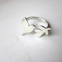 Peace Bird Ring - Handmade Silver Ring