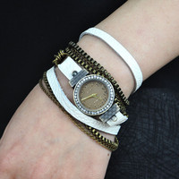 Handmade Metal Chain Leather Wrap Watch- White