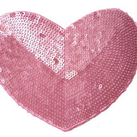 Pink Heart Shape Patch Applique with Sequins - for Sew On - Glue On - Heat Iron Transfer