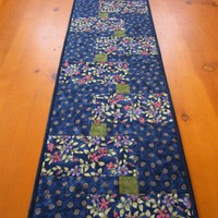 Quilted Table Runner Flowers with Blue
