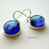 Caribbean Waters Blue Green Dichroic Glass Earrings - Sterling Silver