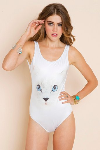 White Cat Swimsuit in Clothes at Nasty Gal