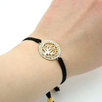 Gold Plated Swarovski Rhinestone Crystal Life Tree Bracelet , Black Velvet Cord Wrap Bracelet , Round disk Bracelet, Mothers Day Gift Idea