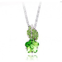 Green Leaf And Flower Swarovski Crystal Pendant Sterling Silver Necklace
