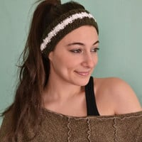 Thin Knitted Headband Stylish Headband with Sequins White Olive Green Headband- Handmade