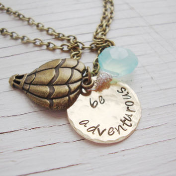 Be Adventurous brass hammered hand stamped hot air balloon with chalcedony aqua briolette