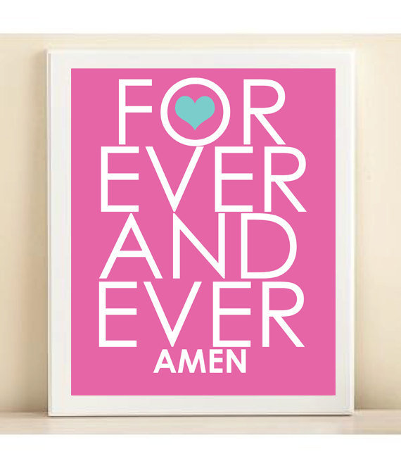 Typography Valentines Day Art Print Forever And by PlayOnWordsArt