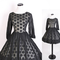 1950s Cocktail Dress / Black and White Geometric by aiseirigh