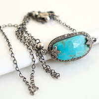 Bezel Set Turquoise Necklace, Turquoise Pendant Necklace, Oxidized Silver Necklace