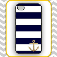 iPhone Case-Glitter Anchor Stripe- iPhone 5 Case, iPhone 4s Case, iPhone 4 Case, iPhone 4 Cover