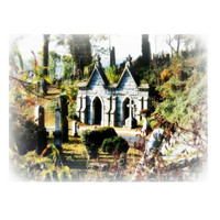 Surreal Victorian Dark Art, Houses of the Holy, Gothic Cemetery Architecture, 5x7 Virginia Fine Art Print