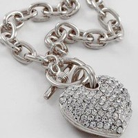 Designer Silver Clear Rhinestone Pave Heart Toggle Chain link Necklace JEWELRY