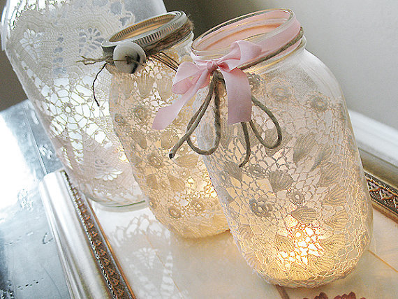 Vintage Lace Mason Jar by AirthandOlson on Etsy