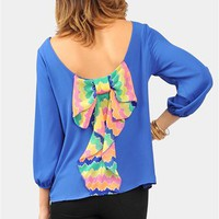 Waldorf Bow Blouse - Blue/Mutli