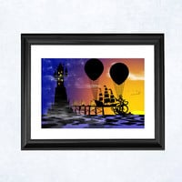 Fantasy adventure print Emergency at Castle by purplecactusdesign