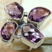 Four Faceted Amethysts Sterling Silver Ring
