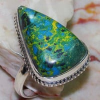 Green and Yellow Sea Sediment Jasper Sterling Silver Ring