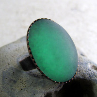 Frosty Green Ring  Satin Glow Emerald Frost Ring by AshleySpatula