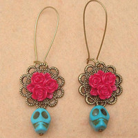 Flower and Turquoise Skull Earring by turquoisecity on Etsy