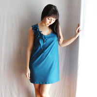 Peacock jersey tank dress with ruffles by AliceCloset on Etsy