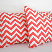 Coral Chevron Pillow Covers 18 X 18 inches