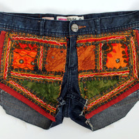 Gypsy Patch Denim Shorts by shopABBEY on Etsy