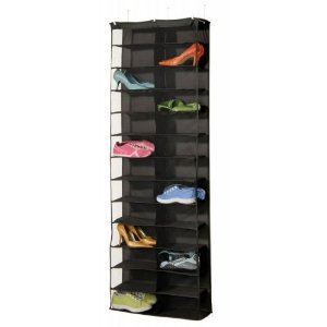 "Amazon.com: 26 Pair Over the Door Shoe Rack (Black) (63""H x 22""W x 6""D): Home & Kitchen"