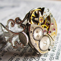 Steampunk ring sterling silver plated by InsomniaStudios on Etsy