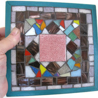 Trivet Colorful Mosaic Kitchen Home Decoration Brown Turquoise
