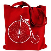 Bicycle Tote Bag - Penny Farthing Bike on Red Canvas Tote Bag