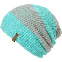 Empyre Girls Piper Green &amp; Grey Rugby Stripe Beanie
