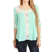Mint Lace Contrast Blouse